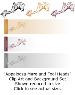 Appaloosa Mare and Foal Heads - horse head clip art set