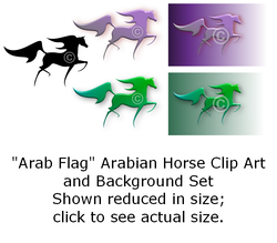 Arab Flag - Arabian horse clip art set
