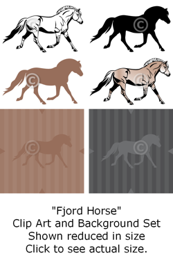 Fjord Horse - Clip Art and Background Set