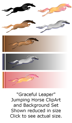 Graceful Leaper - Jumping horse clip art set