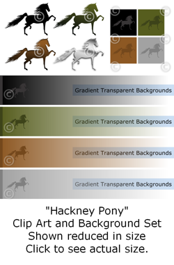 Hackney Pony - Clip Art and Background Set