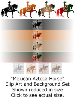 Mexican Azteca Horse and Rider - clip art and background set