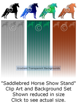 Saddlebred Horses Show Stand - clip art & background set